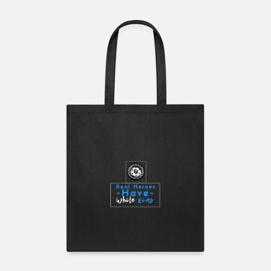 Legend Bags & Backpacks - real heroes have white rims - farmer tractor - Tote Bag black