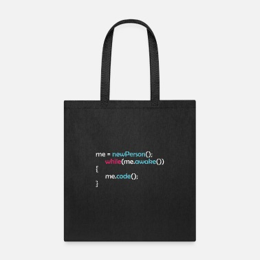Hacker While awake I code funny motivational quote gift - Tote Bag