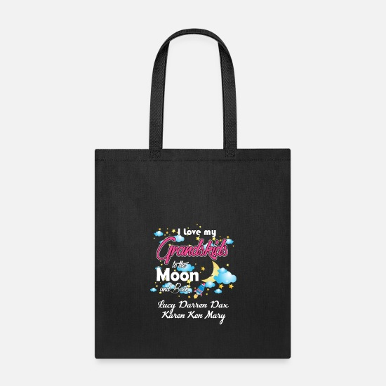 Moon Bags & Backpacks - I Love My Grand Kids to the Moon And Back - Tote Bag black