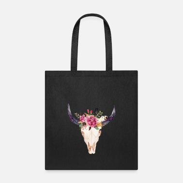 Cow Flower Cow Skull - Cow Boho Funny Christmas Cow - Tote Bag