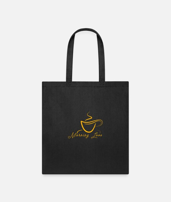 Office Bags & Backpacks - Morning love with coffee - Tote Bag black