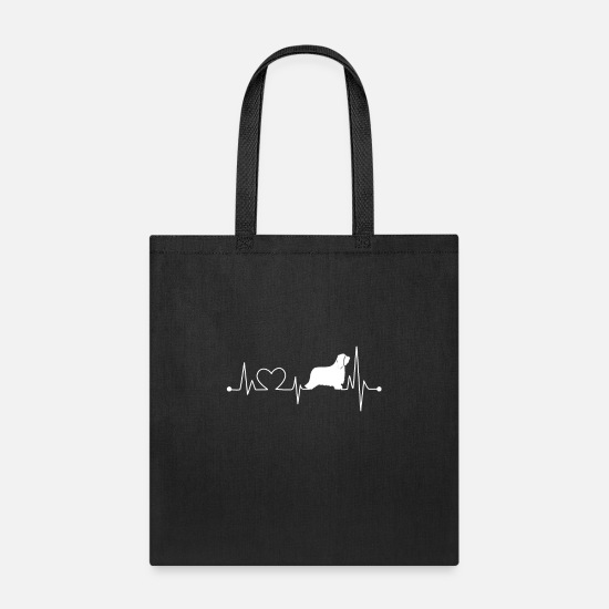 Bearded Collie Bags & Backpacks - Bearded Collie Heartbeat T Shirt - Tote Bag black