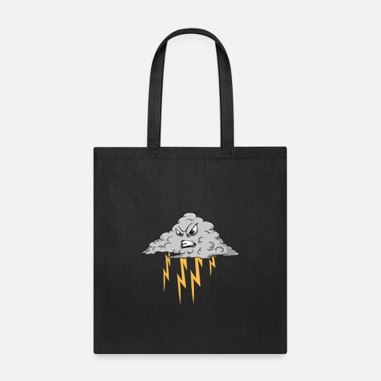 Birthday Bags & Backpacks - Angry Cloud Causing Lightning Thunderstorm Weather - Tote Bag black