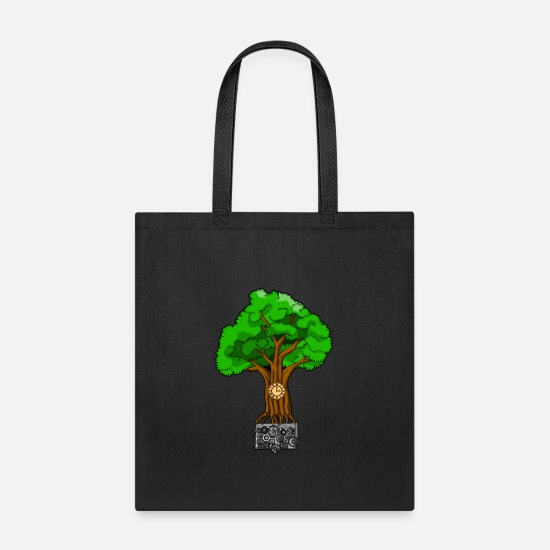 Monkey Bags & Backpacks - TREE O CLOCK - ROOTS OF TIME - Tote Bag black