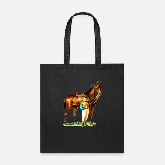 Racing Bags & Backpacks - Race Horse & Jokey - Tote Bag black