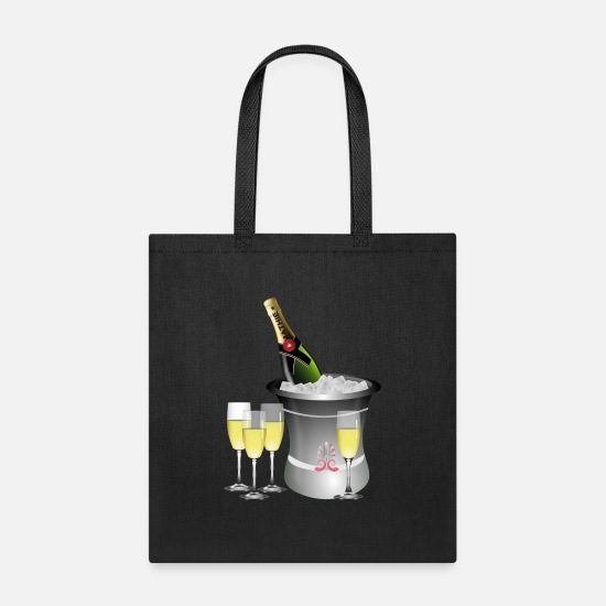 Alcohol Bags & Backpacks - Wine Glass (Anniversary) - Tote Bag black