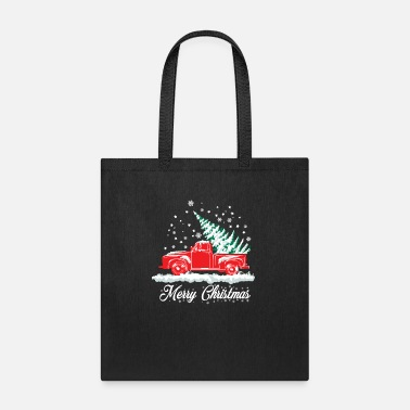 Pine Red Snow Truck and Christmas Tree - Nostalgic Xmas - Tote Bag