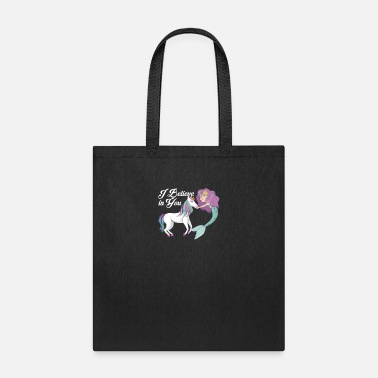 I Believe In You - Cute Mermaid Unicorn Rainbow - Tote Bag