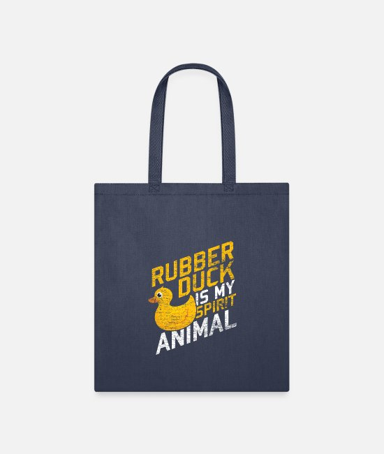 Rubber Bags & Backpacks - Duck Ducky Rubber Duck Animal Ducks Gift Goose - Tote Bag navy