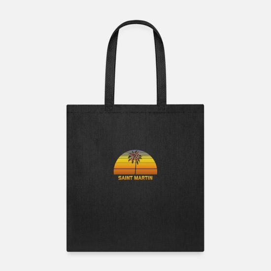Novelty Bags & Backpacks - Saint Martin Palm Tree Christmas Lights Vacation - Tote Bag black