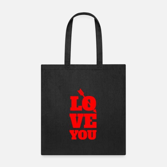 Love Bags & Backpacks - LOVE YOU - Tote Bag black
