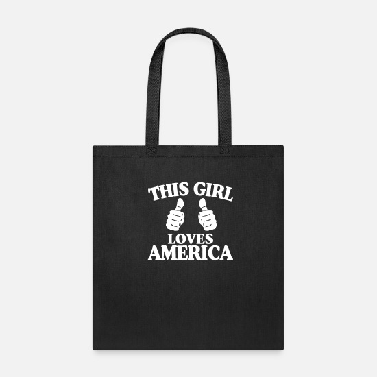 Flag Bags & Backpacks - This Girl Loves America Patriotic American Gift - Tote Bag black