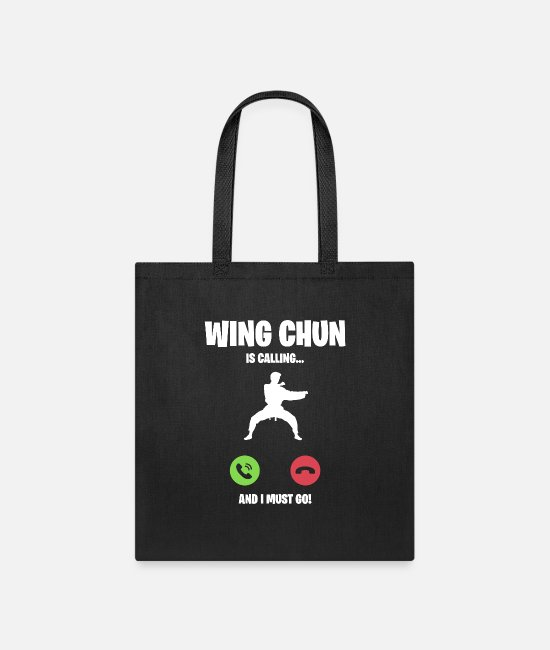 Call Bags & Backpacks - Wing Chun is calling and I must go - Tote Bag black