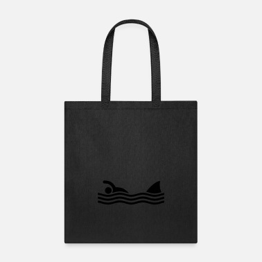 Humour swimmer with shark - Tote Bag