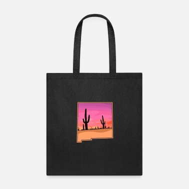 New Mexico Cactus Sunset Desert State Outline - Tote Bag