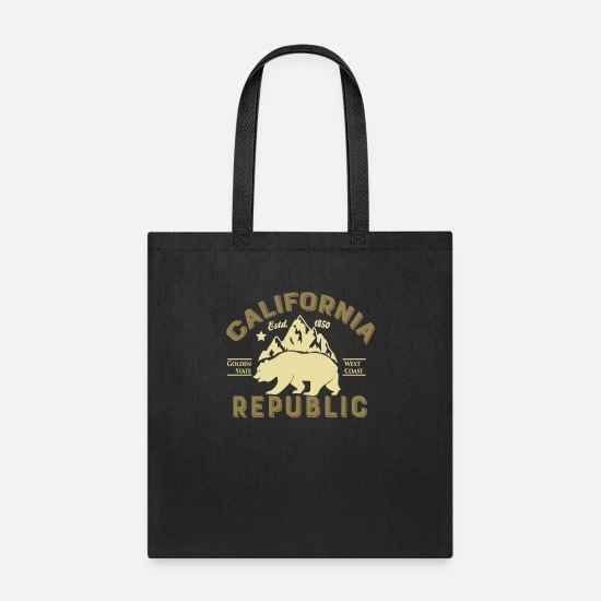 California Bags & Backpacks - Vintage Retro California Republic Golden State - Tote Bag black
