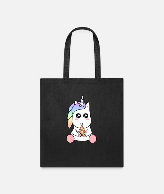 Pizza Bags & Backpacks - Cute Funny Kawaii Unicorn Eating Pizza Slice - Tote Bag black