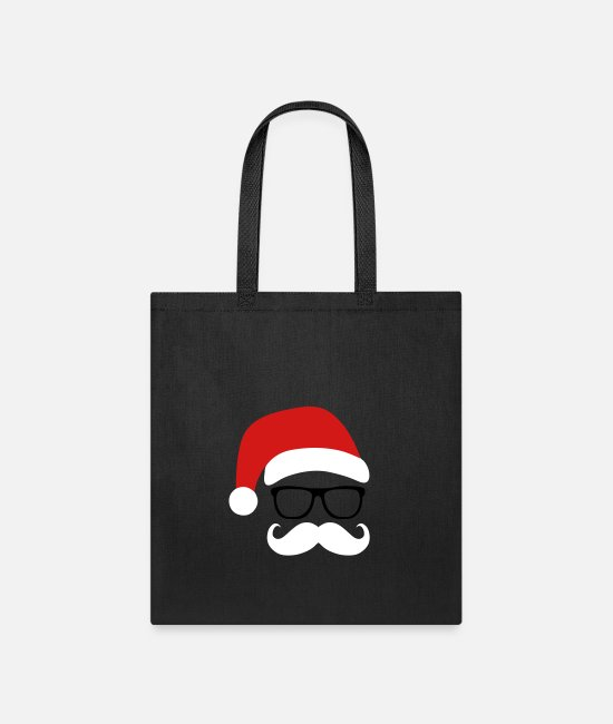 Christmas Bags & Backpacks - Funny Santa Claus with nerd glasses and mustache - Tote Bag black