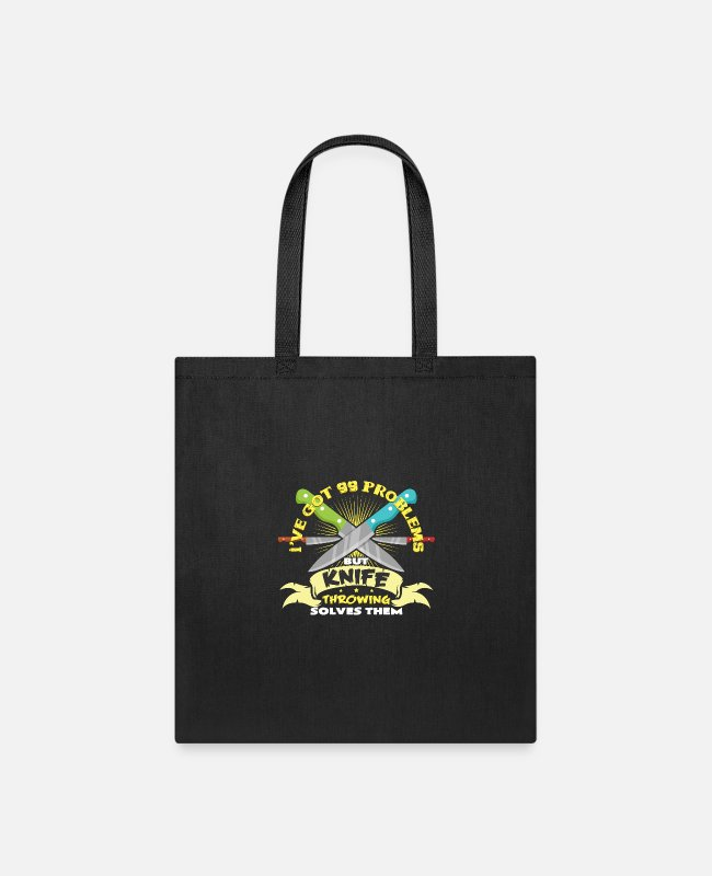 Artist Bags & Backpacks - Knife thrower circus hobby art tricks gifts - Tote Bag black