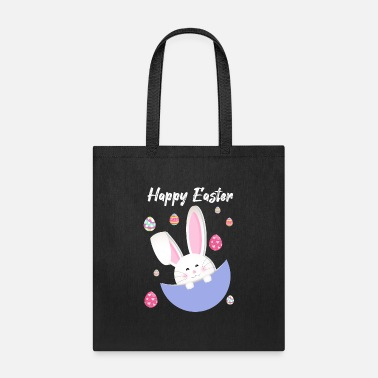 Rainbow happy easter day bunny egg funny boys girls kids - Tote Bag