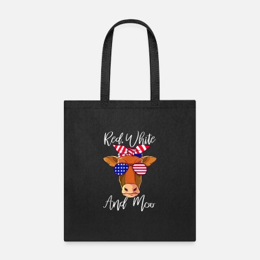 Cow Red White and Moo Patriotic Cow USA Flag 4th of Ju - Tote Bag