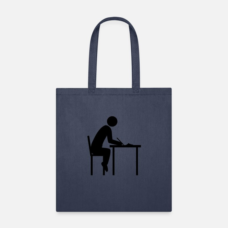 pen writing paint drawing sheet paper table chair Tote Bag - navy
