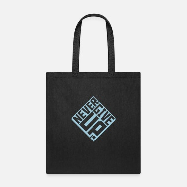 Holding square 3d square text logo never give up cool team - Tote Bag
