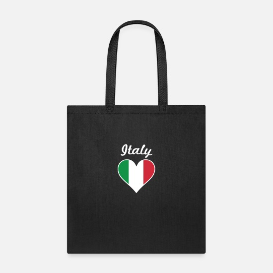 Heart Bags & Backpacks - Italy Flag Heart - Tote Bag black