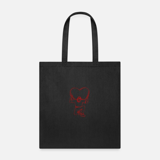 Atlas Bags & Backpacks - Modern Atlas Lifting Heart on Back Drawing - Tote Bag black