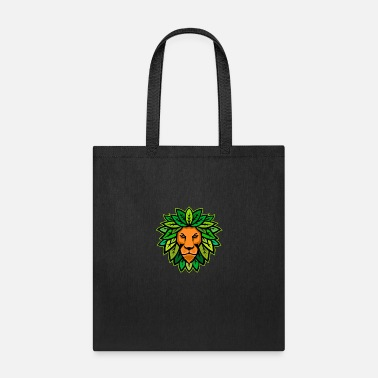 Mane Lion With Leaves As Mane Mascot - Tote Bag