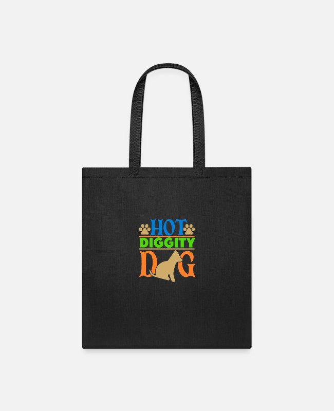 Dog Owner Bags & Backpacks - hot diggity dog - Tote Bag black