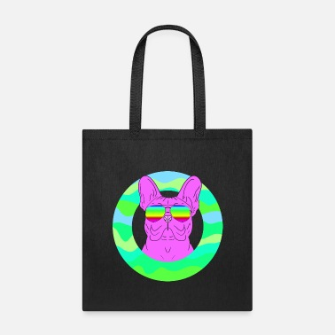 Shaded Funny Frenchie bulldog dog with rainbow shades - Tote Bag
