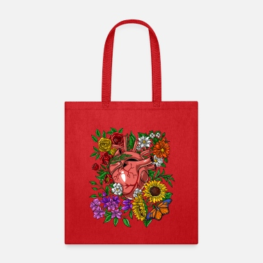 Heart Anatomical Heart Flowers - Tote Bag