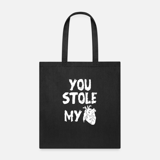 Typography Bags & Backpacks - Stole My Heart - Tote Bag black