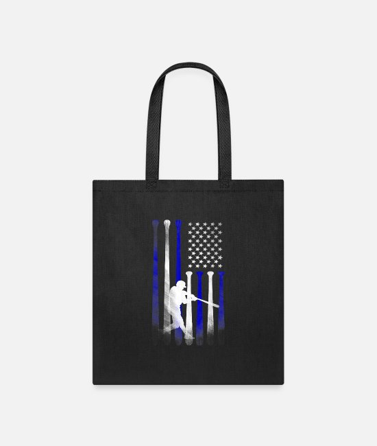 Father's Day Bags & Backpacks - Baseball American Flag Player Flag Dad Mom Kid - Tote Bag black