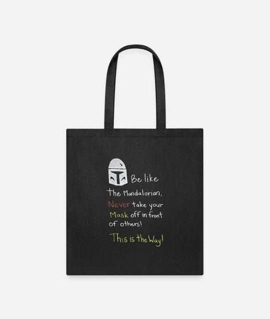Christmas Bags & Backpacks - Be like the mandalorian meme mask This is the way - Tote Bag black