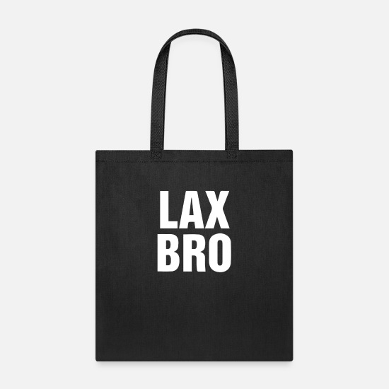 Lax Bags & Backpacks - Lax Bro funny tshirt - Tote Bag black