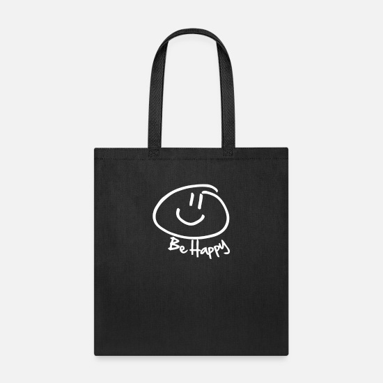 Happy Bags & Backpacks - Be Happy Smiley Face Funny - Tote Bag black