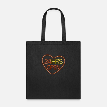 Offspring neon sign: 24 hrs open heart - Tote Bag