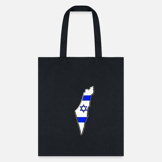 Israel Flag Map Canvas Shoulder Bags Tote Bag For Womens Black
