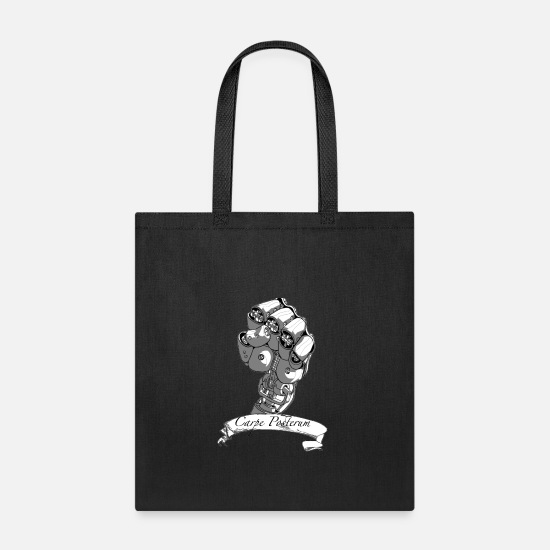 Robot Bags & Backpacks - Carpe Posterum clear background - Tote Bag black