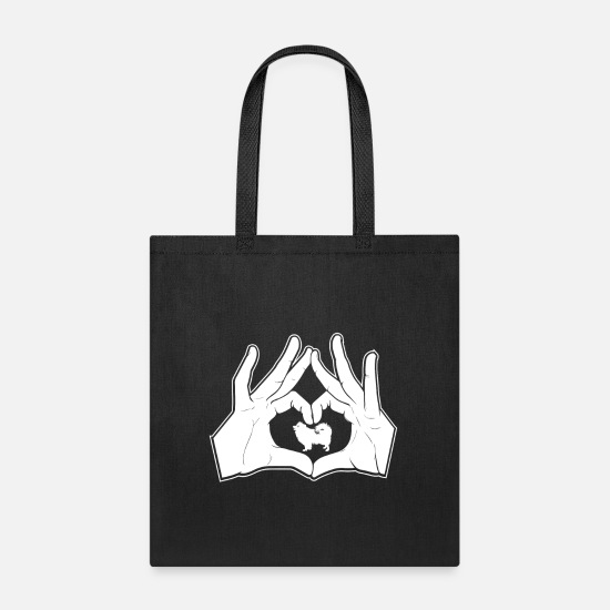 Love Bags & Backpacks - American Eskimo Hands Heart Sign - Tote Bag black