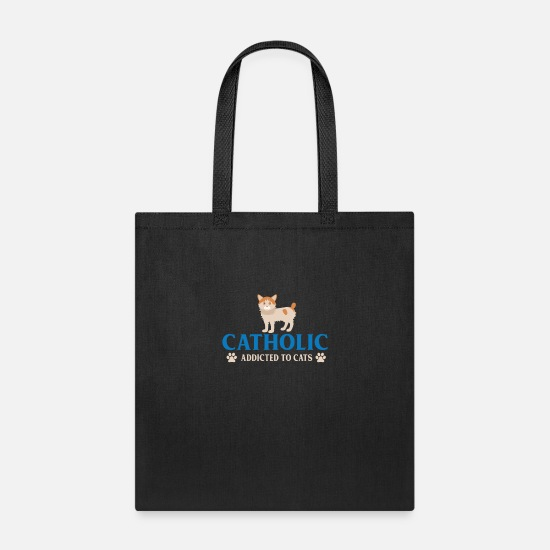 Addicted Bags & Backpacks - CATHOLIC ADDICTED TO CATS - Tote Bag black