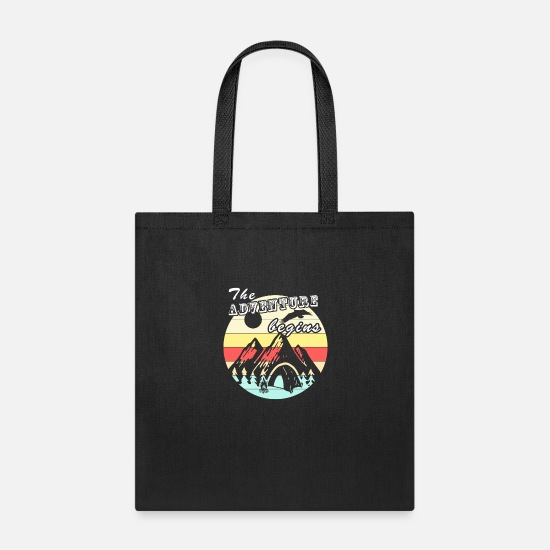 Camping Bags & Backpacks - Camping Retro Vintage Adventure Camping Gift - Tote Bag black