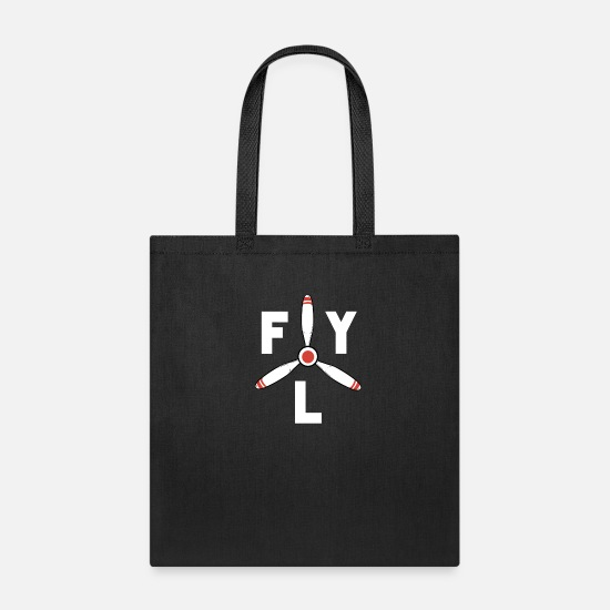Fly Bags & Backpacks - Fly Propeller Aircraft Pilot - Tote Bag black