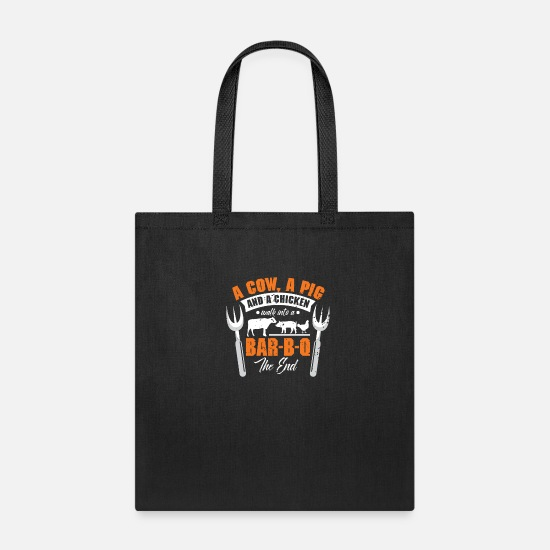 Chicken Bags & Backpacks - Barbecue BBQ Summer Love Story Grill - Tote Bag black