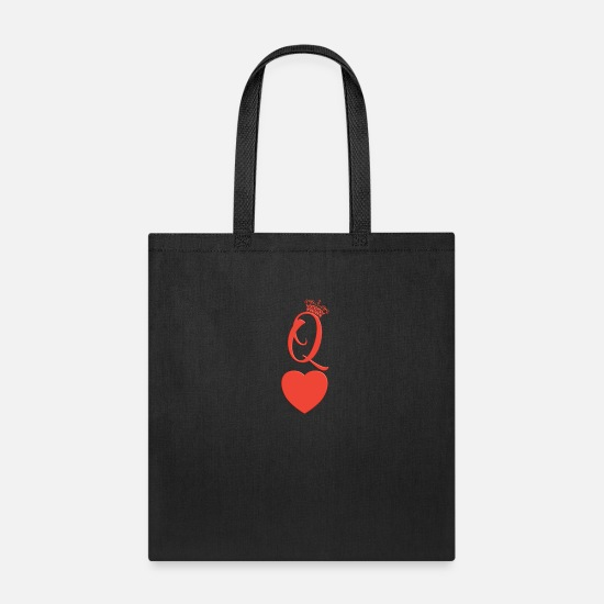 King Bags & Backpacks - queen heart crown queen of hearts playing card - Tote Bag black
