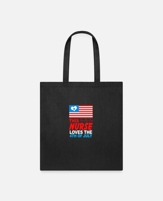 American Bags & Backpacks - This Nurse Loves Fourth Of July Funny Gift For - Tote Bag black