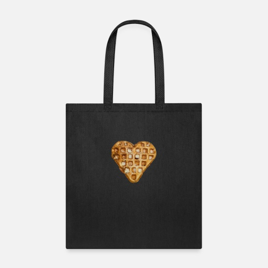 Heart Bags & Backpacks - waffle heart - Tote Bag black