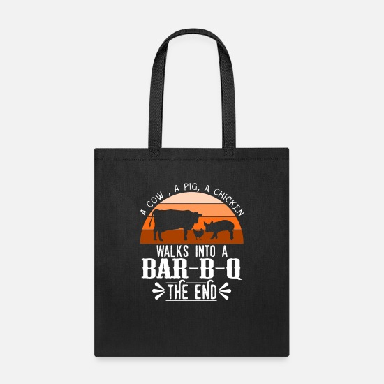 "Bar Bags & Backpacks - A Nice Grilling Tee For Griller ""A Cow A Pig A - Tote Bag black"